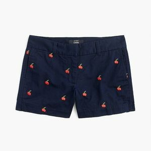 """J.Crew 4"""" short with embroidered cherries (NWOT)"""